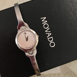 Movado Diamond Kara Mother of Pearl Silver Watch